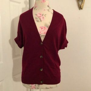 Theory Cranberry Button Down Short Sleeve Cardigan